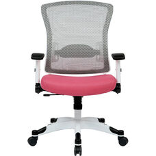 Space Pulsar Managers Office Chair with Mesh Padded Seat - Pink with White Frame