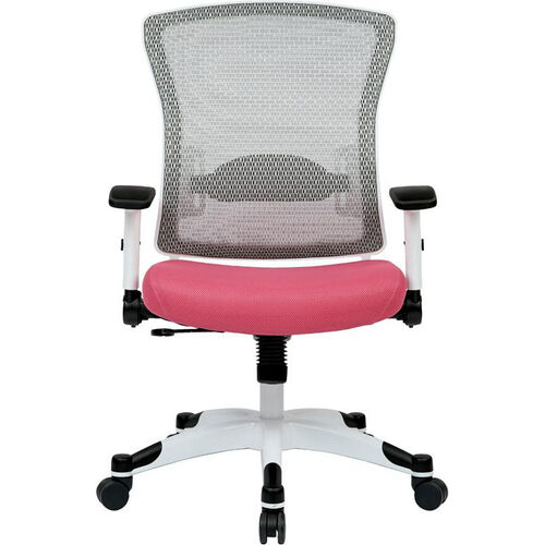 Our Space Pulsar Managers Office Chair with Mesh Padded Seat - Pink with White Frame is on sale now.