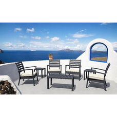 Artemis XL Polypropylene Club Seating Set with 7 Pieces - Silver Gray