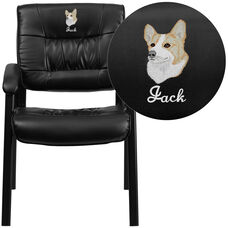 Embroidered Black Leather Executive Side Reception Chair with Black Frame Finish