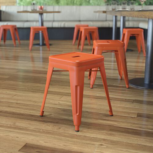 """18"""" Table Height Stool, Stackable Backless Metal Indoor Dining Stool, Commercial Grade Restaurant Stool in Orange - Set of 4"""