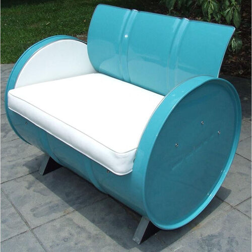 Del Ray Steel Drum Armchair with White Accents