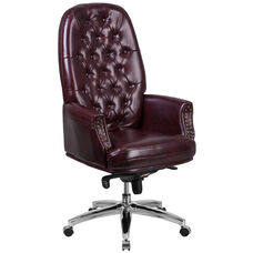 High Back Traditional Tufted Burgundy Leather Multifunction Executive Swivel Ergonomic Office Chair with Arms