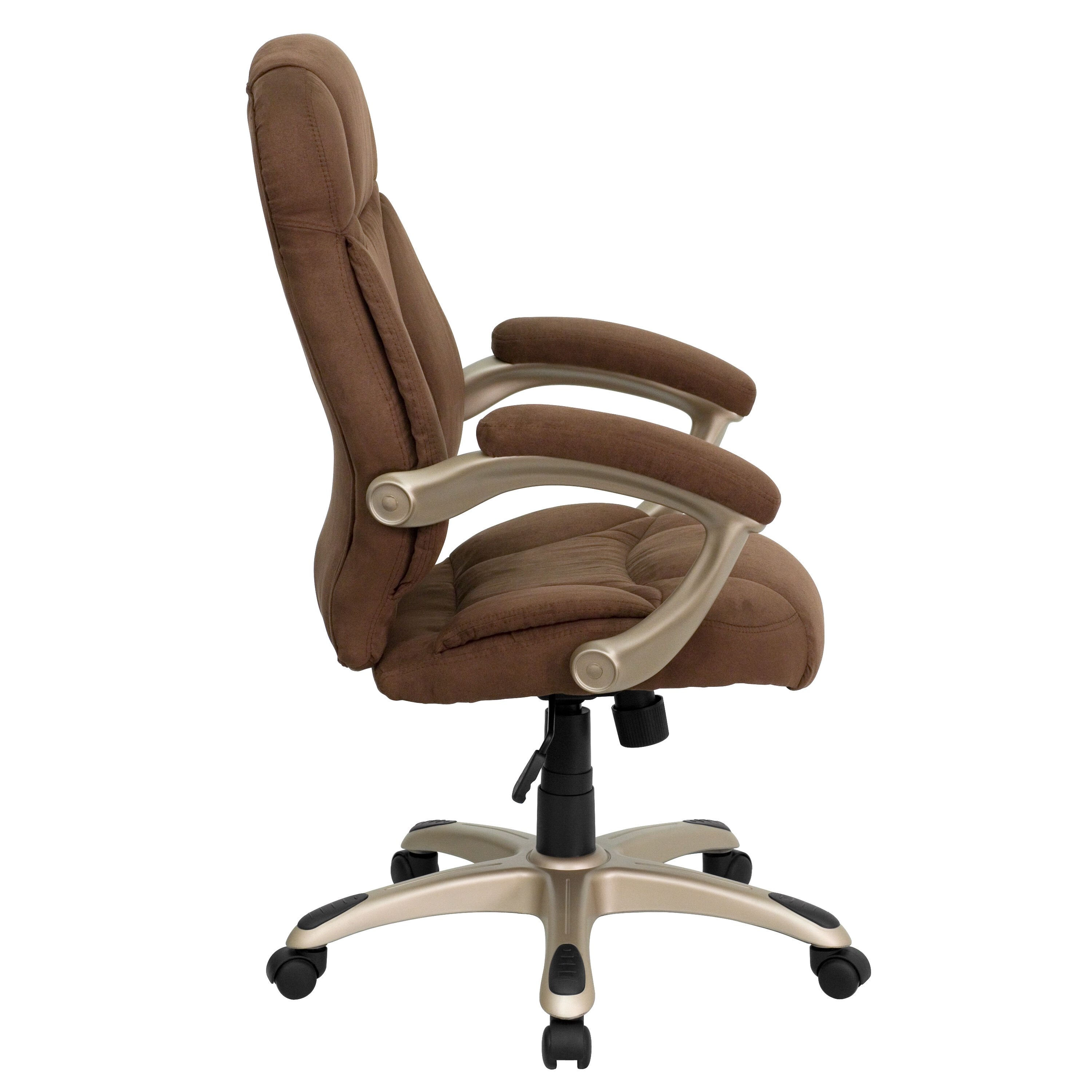 Our High Back Brown Microfiber Contemporary Executive Swivel Chair With  Arms Is On Sale Now.