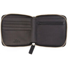 RFID Blocking Zip Around Wallet - Saffiano Genuine Leather - Black