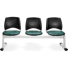 Stars 3-Beam Seating with 3 Vinyl Seats - Teal