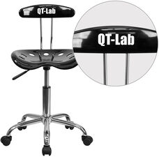 Personalized Vibrant Black and Chrome Swivel Task Office Chair with Tractor Seat