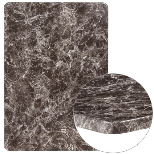"Our 30"" x 42"" Rectangular Gray Marble Laminate Table Top is on sale now."
