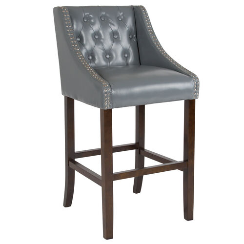 "Our Carmel Series 30"" High Transitional Tufted Walnut Barstool with Accent Nail Trim in Light Gray Leather is on sale now."
