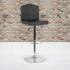 Bellagio Contemporary Adjustable Height Barstool with Accent Nail Trim in Black LeatherSoft