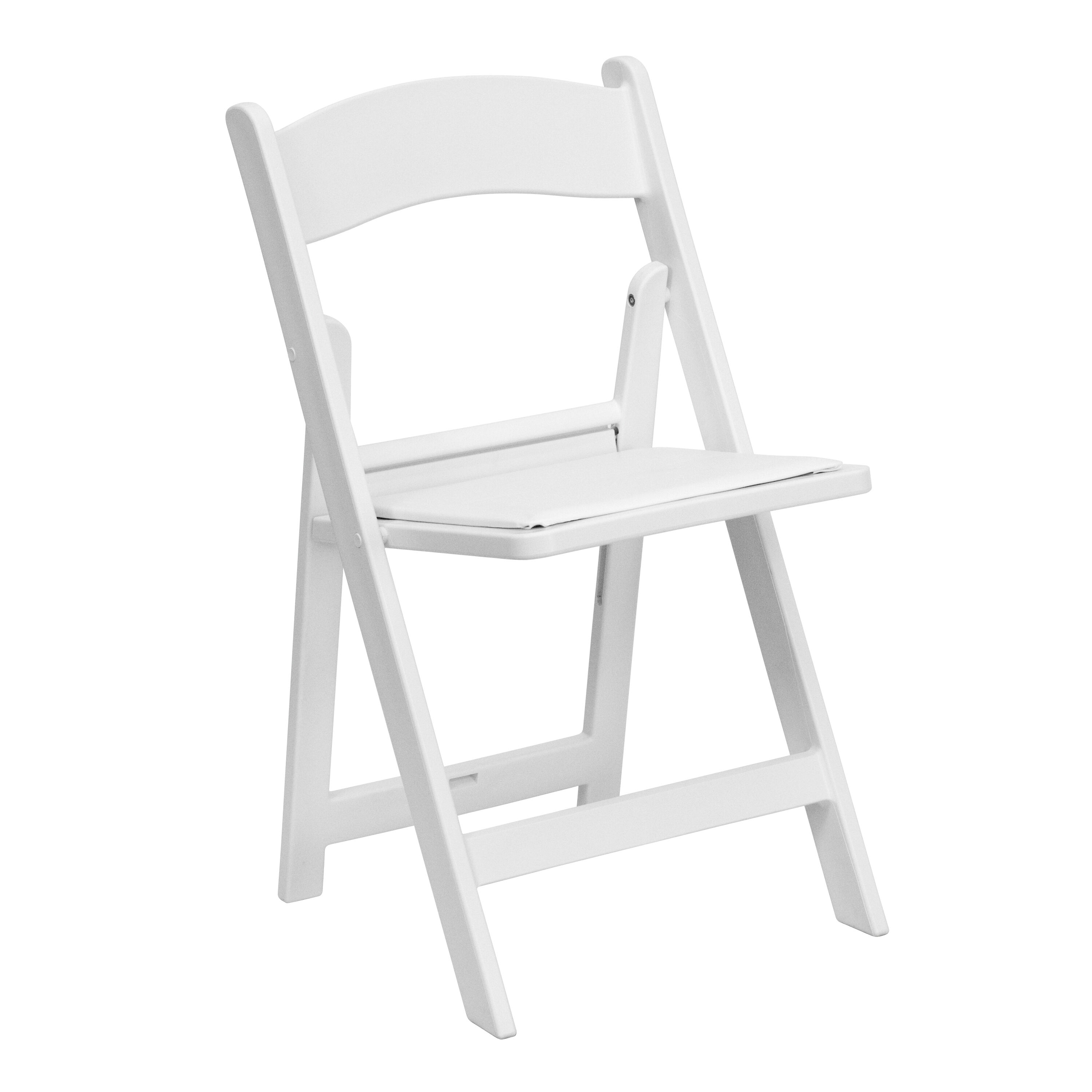 Our HERCULES Series 1000 Lb. Capacity White Resin Folding Chair With White  Vinyl Padded Seat
