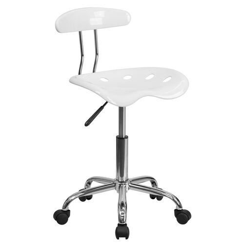 Our Vibrant White and Chrome Swivel Task Office Chair with Tractor Seat is on sale now.