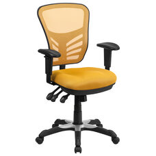 Mid-Back Yellow-Orange Mesh Multifunction Executive Swivel Ergonomic Office Chair with Adjustable Arms