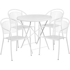"""Commercial Grade 30"""" Round White Indoor-Outdoor Steel Folding Patio Table Set with 4 Round Back Chairs"""