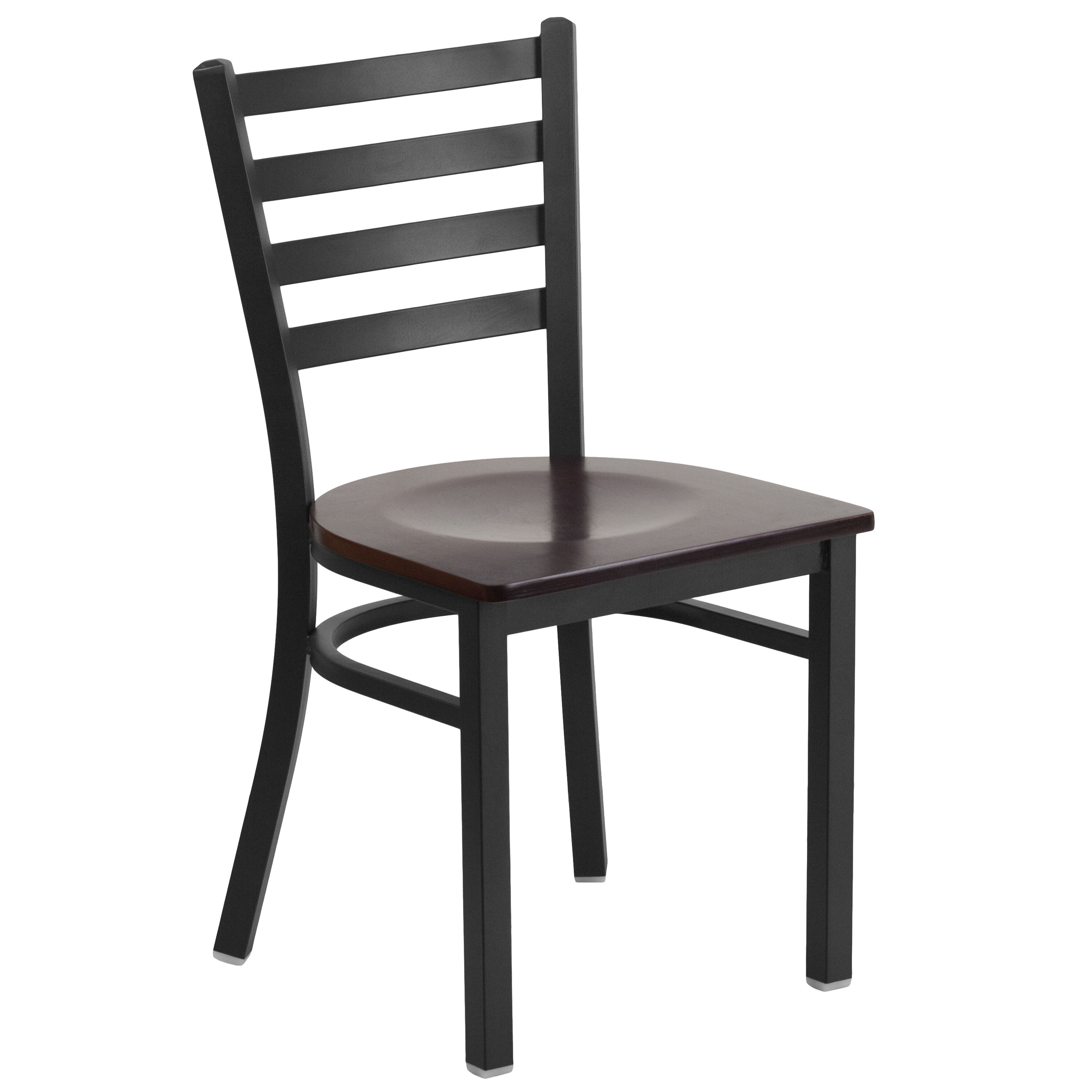 Our HERCULES Series Black Ladder Back Metal Restaurant Chair   Walnut Wood  Seat Is On Sale
