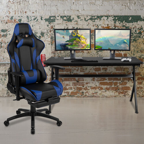 BlackArc Black Gaming Desk and Blue Footrest Reclining Gaming Chair Set - Cup Holder/Headphone Hook/Removable Mouse Pad Top/Wire Management