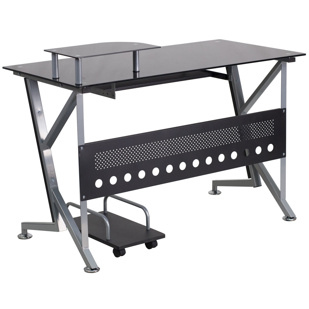 Our Black Glass Computer Desk With Pull Out Keyboard Tray And Cpu Cart Is On