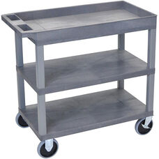 Molded Thermoplastic Resin 2 Flat/1 Tub Shelf Utility Cart with 5