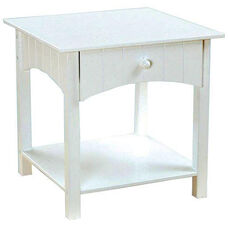Nantucket Wooden Low Height Toddler Side Table with Storage Drawer - White