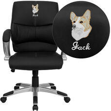 Embroidered Mid-Back Black LeatherSoft Contemporary Swivel Manager