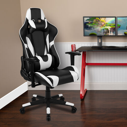 Our X20 Gaming Chair Racing Office Ergonomic Computer PC Adjustable Swivel Chair with Fully Reclining Back in Red LeatherSoft is on sale now.