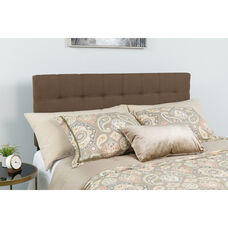 Bedford Tufted Upholstered King Size Headboard in Dark Brown Fabric