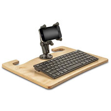 Wooden Wheelmate Extreme Ergonomic Travel Desk with Bluetooth Keyboard and X-Grip Smartphone Mount