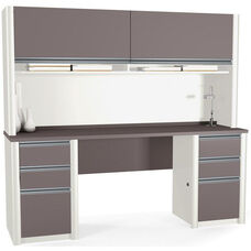 Connexion Credenza and Hutch Kit with Storage Drawers and Keyboard Drawer - Bordeaux and Slate