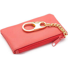 Coin and Key Holder Wallet - Top Grain Nappa Leather - Red