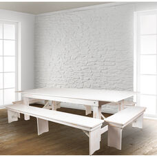 """HERCULES Series 9' x 40"""" Antique Rustic White Folding Farm Table and Four Bench Set"""