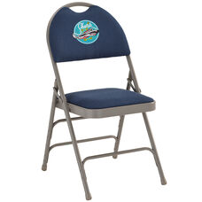 Embroidered HERCULES Series Ultra-Premium Triple Braced Navy Fabric Metal Folding Chair with Easy-Carry Handle