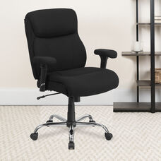 HERCULES Series Big & Tall 400 lb. Rated Black Fabric Ergonomic Task Office Chair with Line Stitching and Adjustable Arms