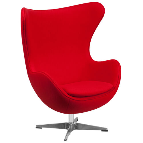 Our Red Wool Fabric Egg Chair with Tilt-Lock Mechanism is on sale now.