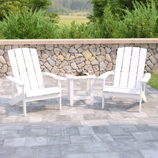 2 Pack Charlestown All-Weather Poly Resin Wood Adirondack Chairs with Side Table in White