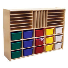 Multi-Shaped Baltic Birch Plywood Storage Unit with 15 Assorted Color Trays - 46.75