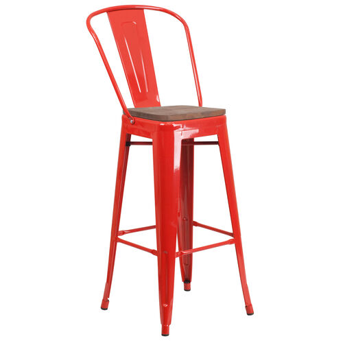 "Our 30"" High Red Metal Barstool with Back and Wood Seat is on sale now."