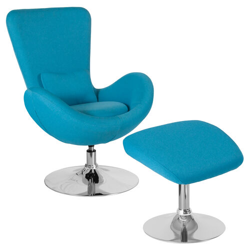 Our Egg Series Aqua Fabric Side Reception Chair with Ottoman is on sale now.