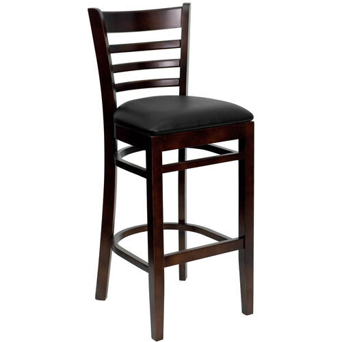 Our Walnut Finished Ladder Back Wooden Restaurant Barstool with Black Vinyl Seat is on sale now.