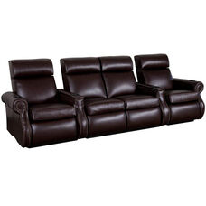 Bradford Four Seater Home Theater - Straight Arm in Top Grain Leather with Leather Match