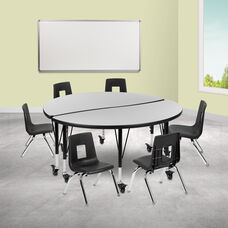 "Mobile 47.5"" Circle Wave Collaborative Laminate Activity Table Set with 12"" Student Stack Chairs, Grey/Black"