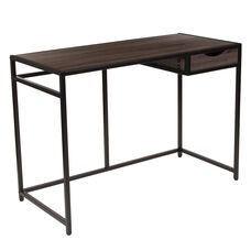 Homewood Collection Driftwood Finish Computer Desk with Pull-Out Drawer and Black Metal Frame