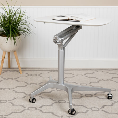"""Mobile Sit-Down, Stand-Up White Computer Ergonomic Desk with 28.25""""W Top (Adjustable Range 29"""" - 41"""")"""