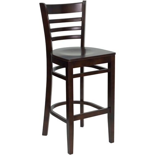 Our Walnut Finished Ladder Back Wooden Restaurant Barstool is on sale now.