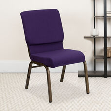 HERCULES™ Series Auditorium Chair - Stacking Padded Chair - 19inch Wide Seat - Royal Purple Fabric/Gold Vein Frame