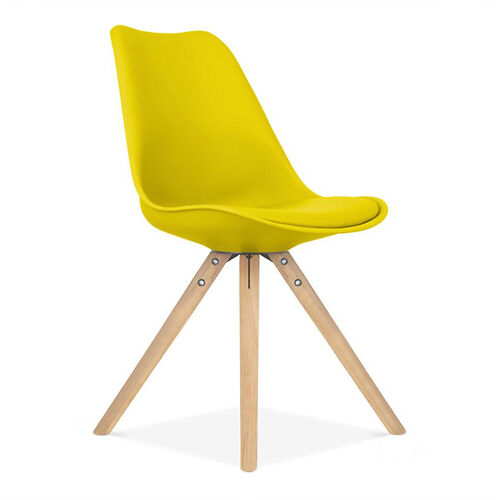 Our Viborg Mid Century Yellow Side Chair with Natural Wood Base - Set of 2 is on sale now.