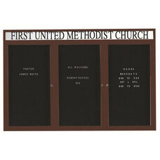 3 Door Outdoor Enclosed Directory Board with Header and Bronze Anodized Aluminum Frame - 48