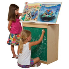 Natural Big Book Display and Storage with Locking Piano Hinged Top with Chalkboard on Front - Assembled - 24
