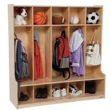 5-Section Seat Locker with Two Coat Hooks in Each Section - Assembled - 48