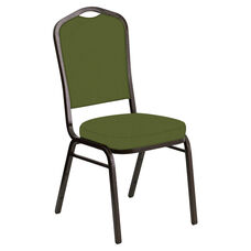 Embroidered Crown Back Banquet Chair in E-Z Wallaby Olive Vinyl - Gold Vein Frame