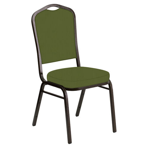 Our Embroidered Crown Back Banquet Chair in E-Z Wallaby Olive Vinyl - Gold Vein Frame is on sale now.